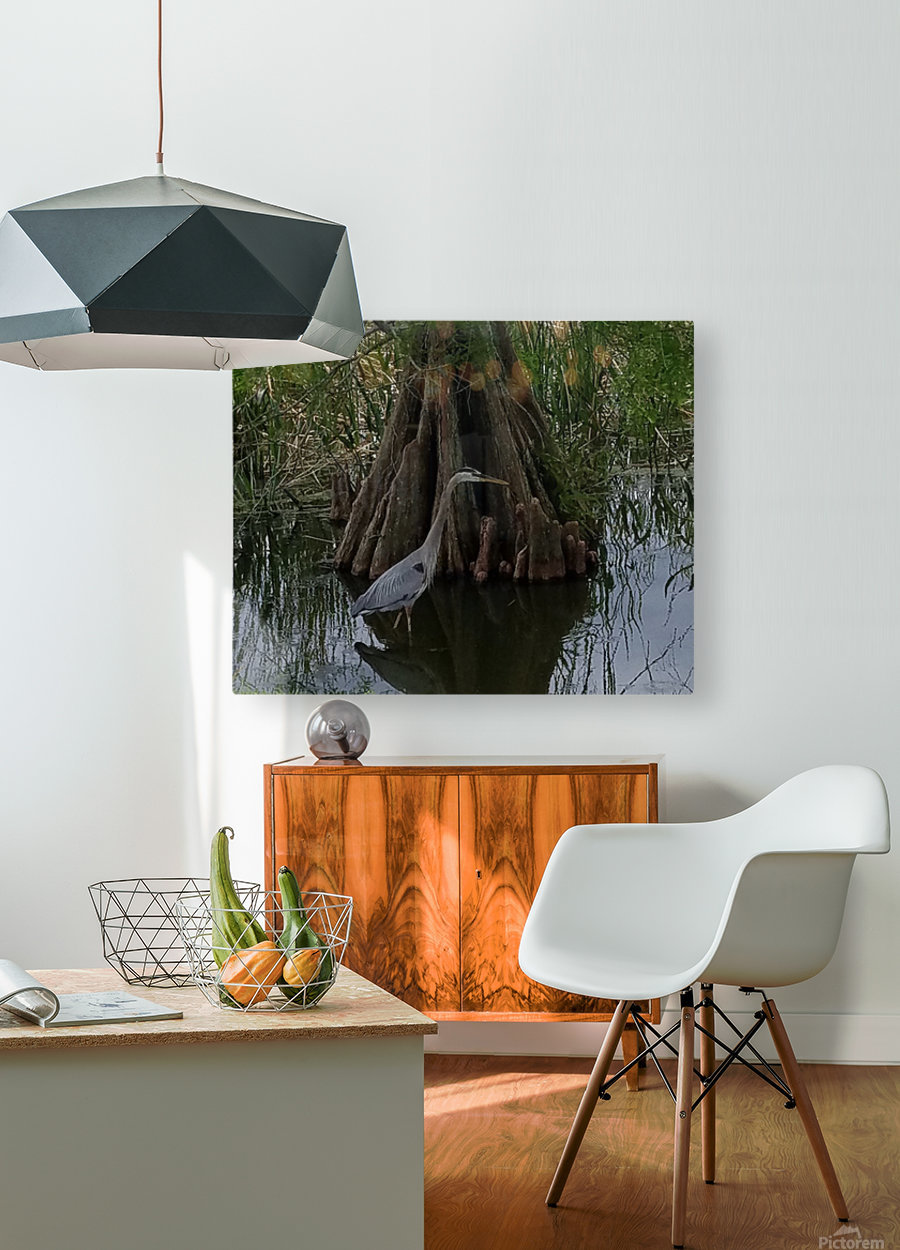 Heron  HD Metal print with Floating Frame on Back