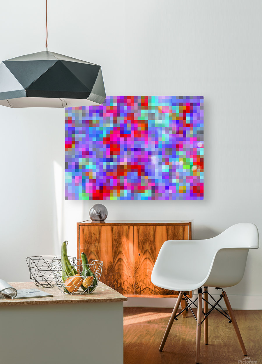 geometric square pixel pattern abstract background in blue purple pink red  HD Metal print with Floating Frame on Back