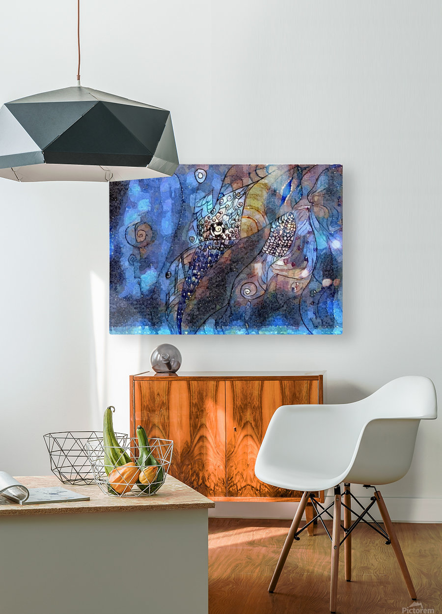 Blue Dimension  HD Metal print with Floating Frame on Back