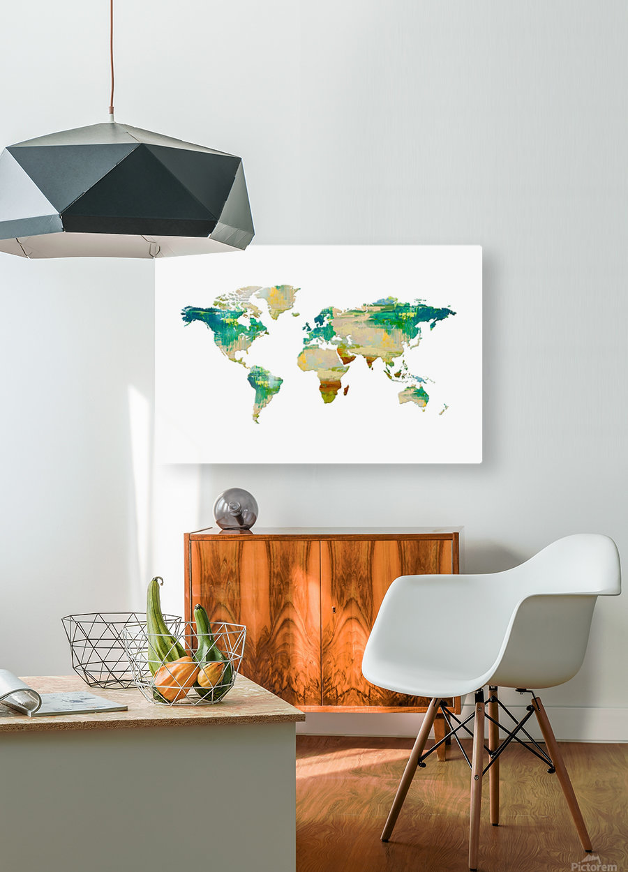 Artistic World Map I  HD Metal print with Floating Frame on Back