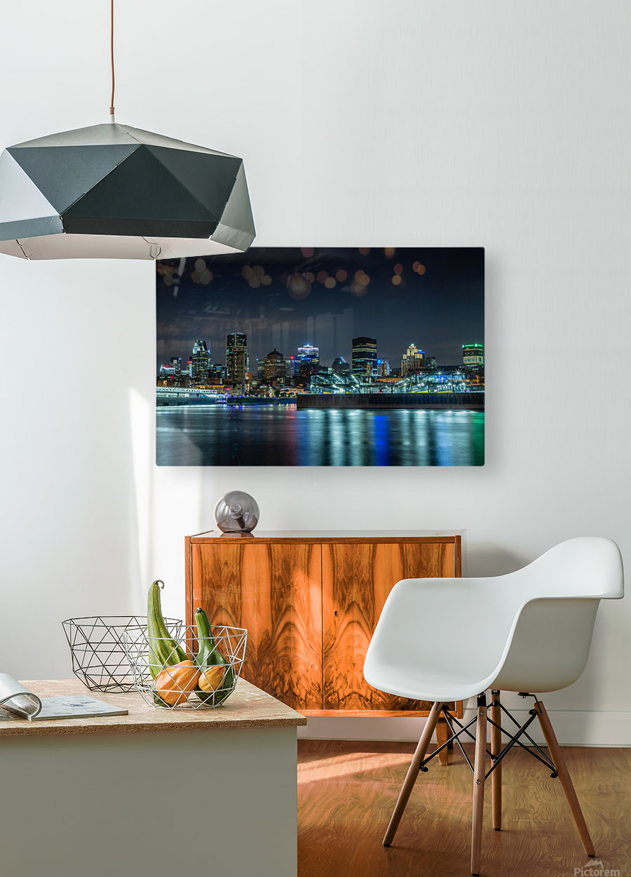 Montreal Skyline  HD Metal print with Floating Frame on Back