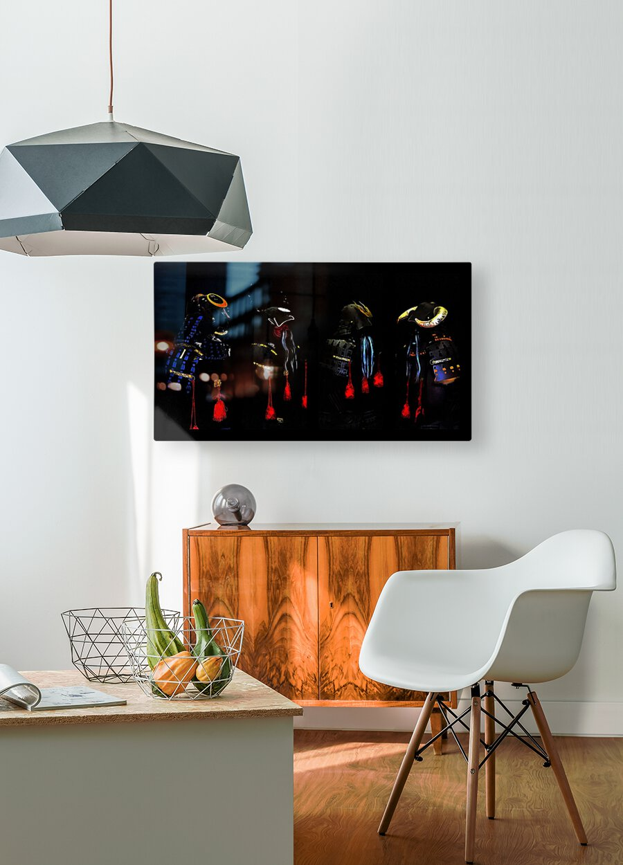 Memories of Samurai Black Armour Collage  HD Metal print with Floating Frame on Back