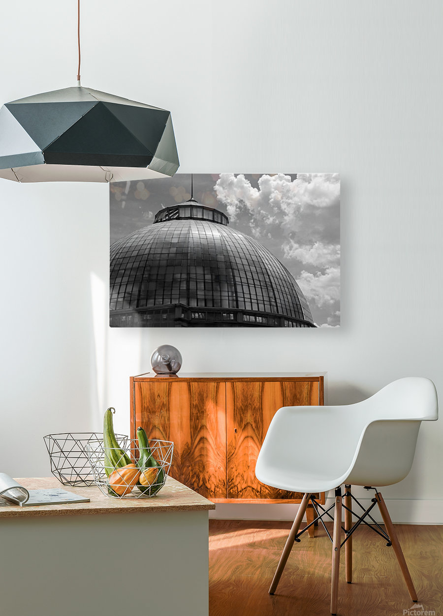 Belle Isle Conservatory Dome BW  HD Metal print with Floating Frame on Back