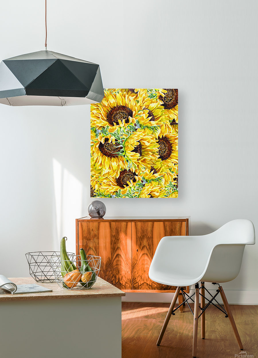 The Filed Of Watercolor Sunflowers Pattern  HD Metal print with Floating Frame on Back