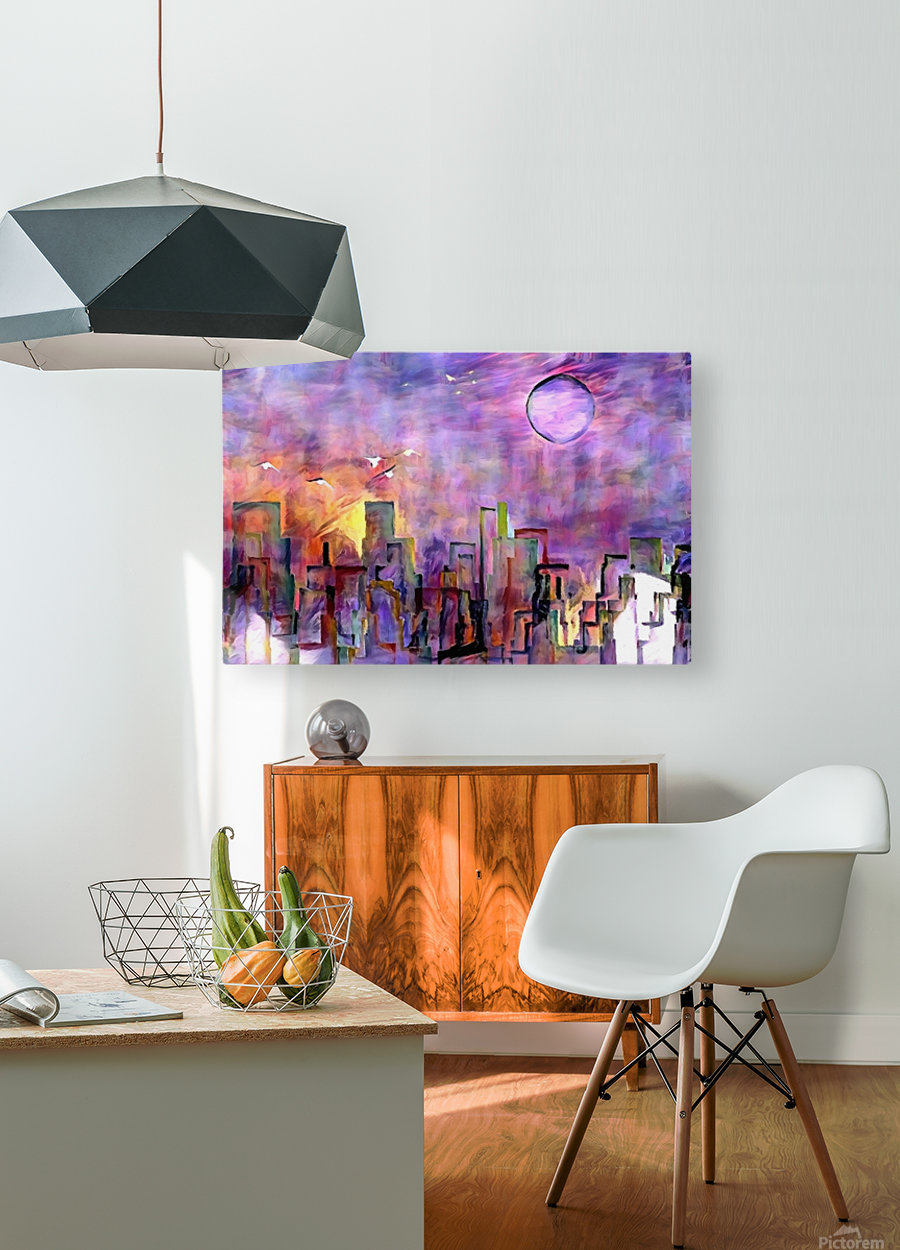 Night City Colors  HD Metal print with Floating Frame on Back