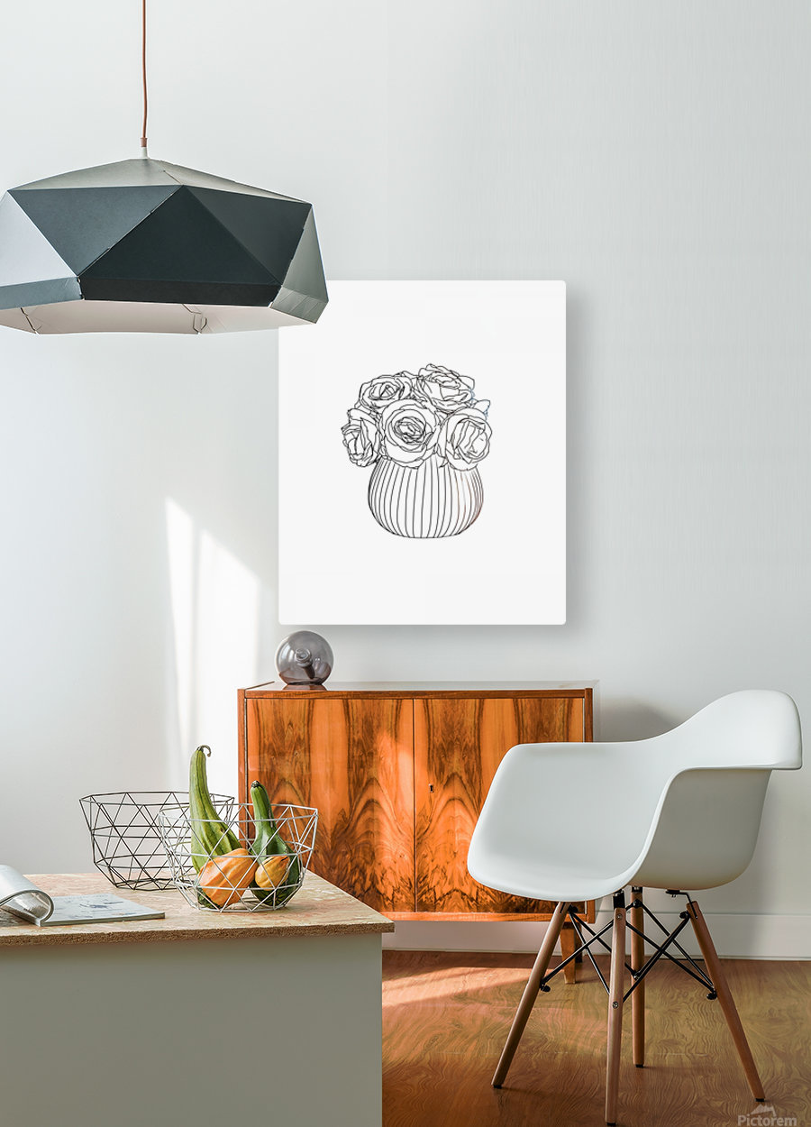 Line Drawing  HD Metal print with Floating Frame on Back