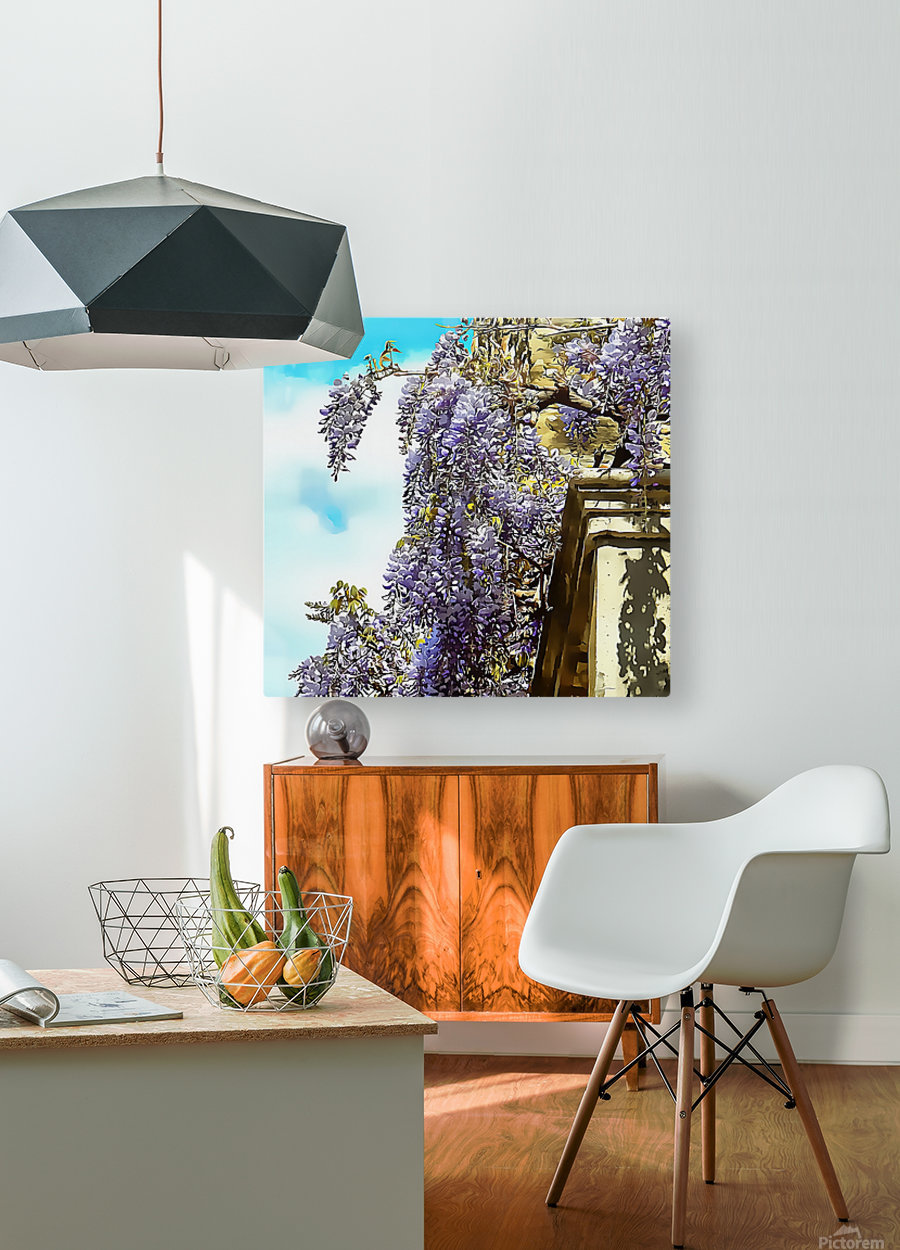 Wisteria Cascade  HD Metal print with Floating Frame on Back