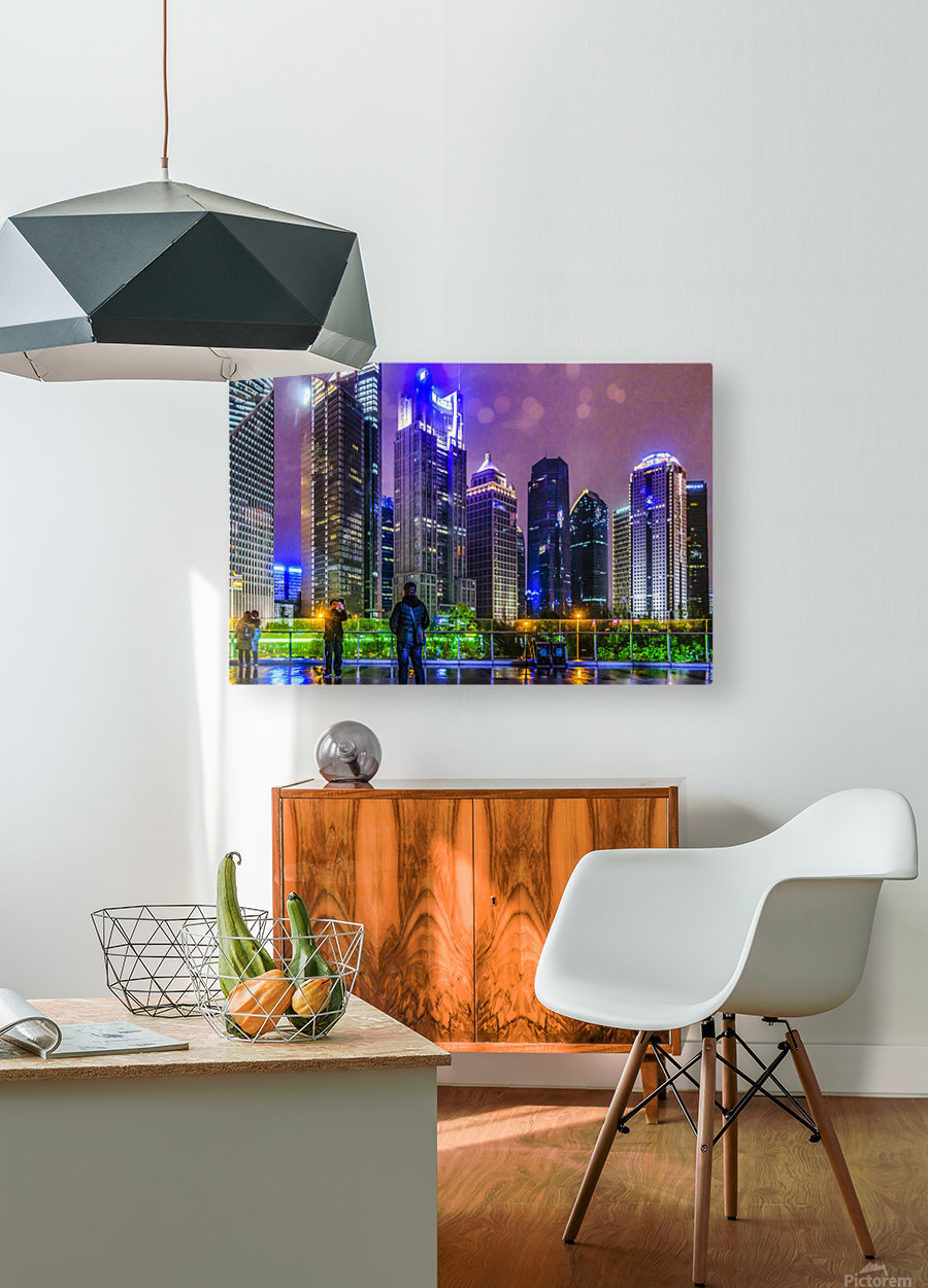 Lujiazui District Nigth Scene, Shanghai, China  HD Metal print with Floating Frame on Back