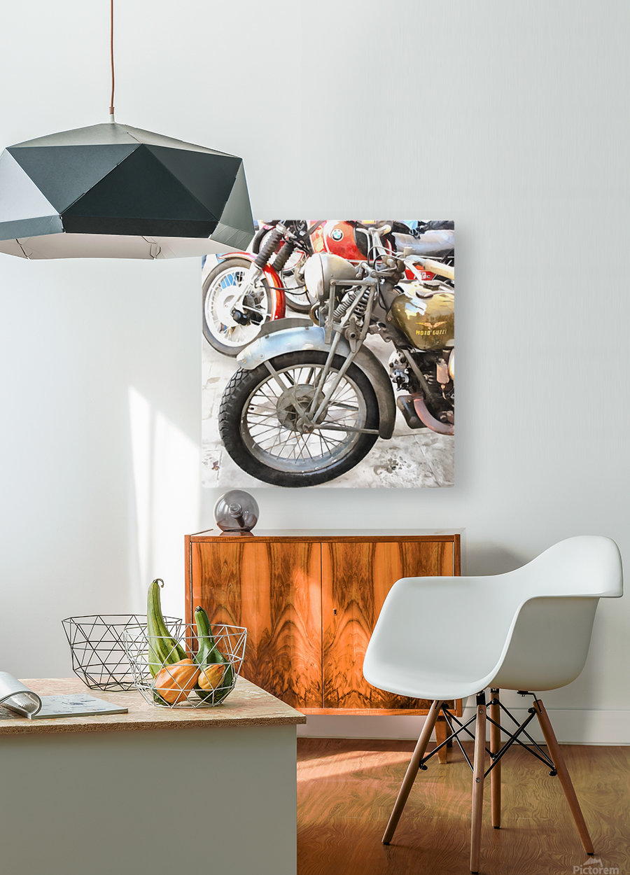 Moto Guzzi and BMW Front Wheels  HD Metal print with Floating Frame on Back
