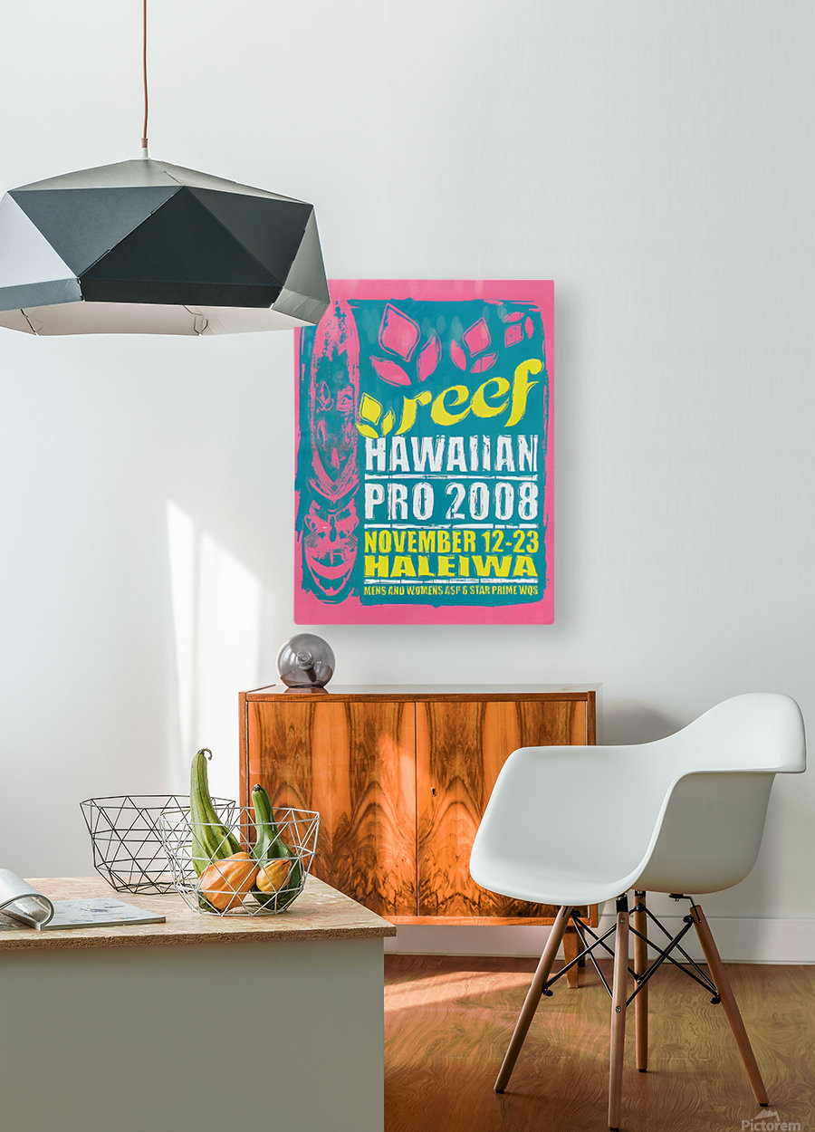 2008 REEF HAWAIIAN PRO Surf Competition Poster  HD Metal print with Floating Frame on Back