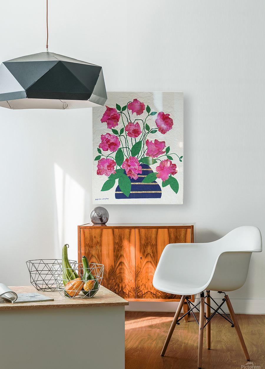 Flowers in navy blue vase   HD Metal print with Floating Frame on Back