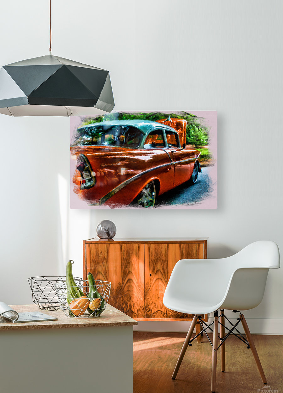 Classic Orange Car in Park Painting  HD Metal print with Floating Frame on Back
