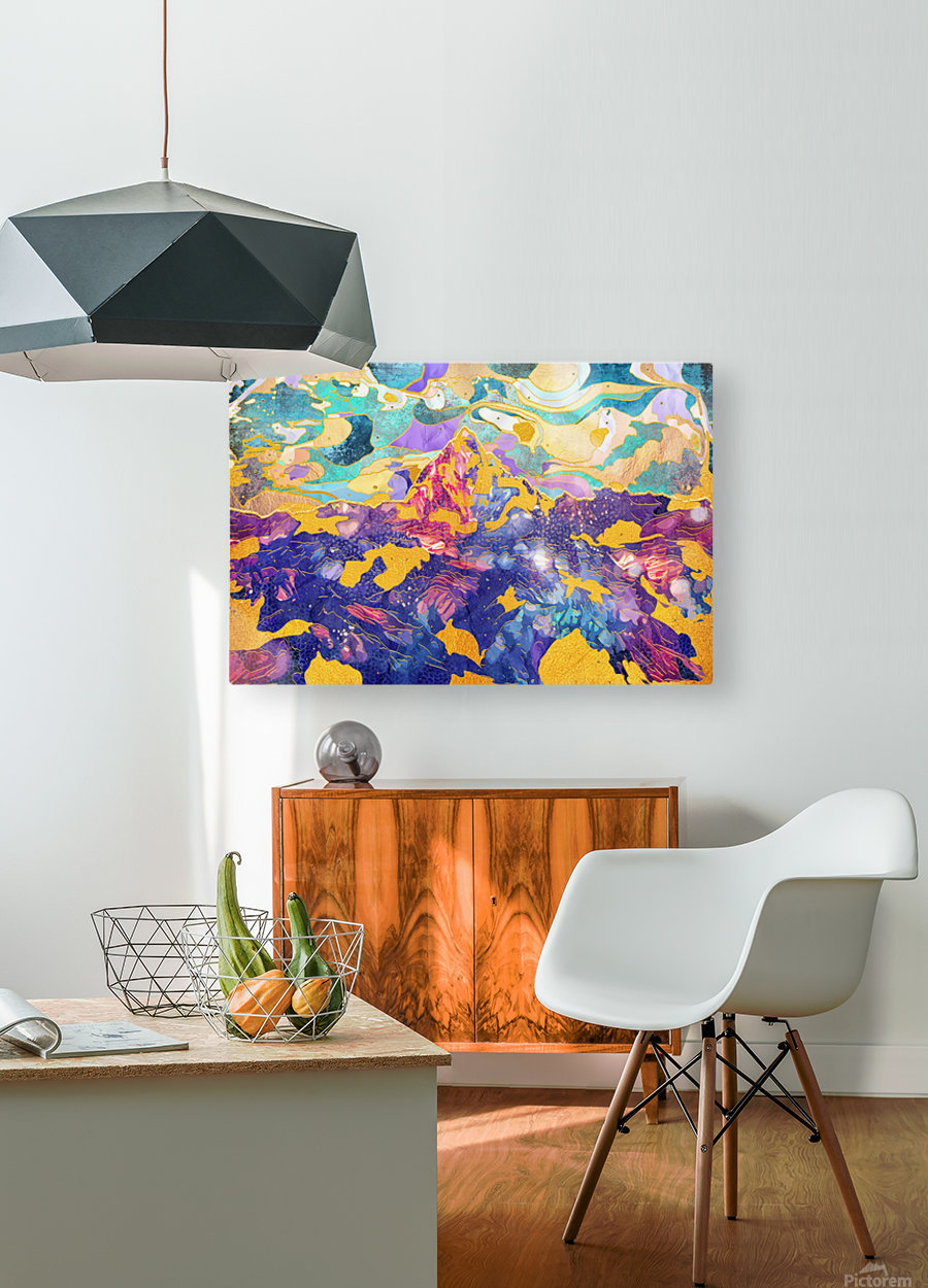 Dreamy Mountain - Illustration II  HD Metal print with Floating Frame on Back