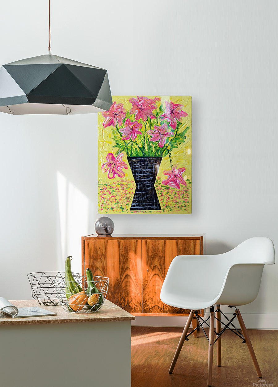Pink Flowers in vase   HD Metal print with Floating Frame on Back