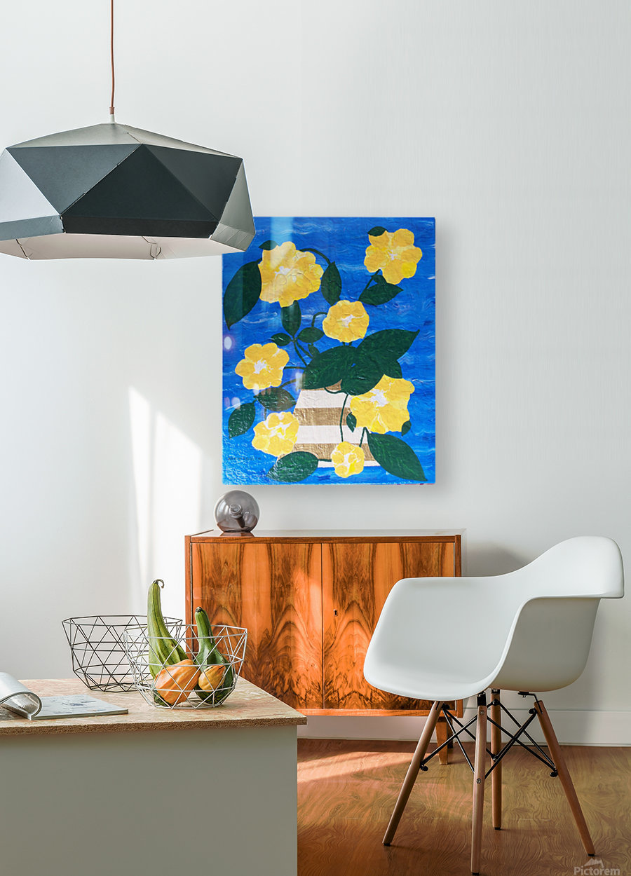 Yellow flowers in vase   HD Metal print with Floating Frame on Back