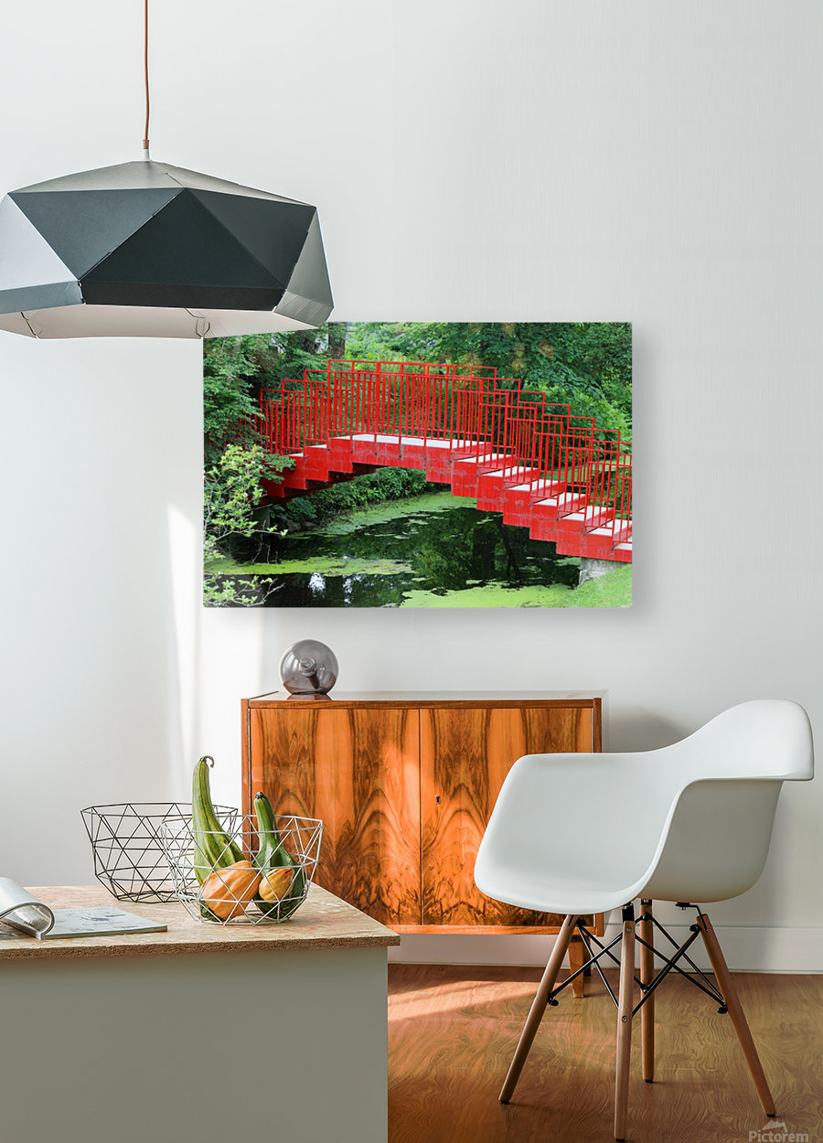Dow Gardens Red Footbridge 062618  HD Metal print with Floating Frame on Back