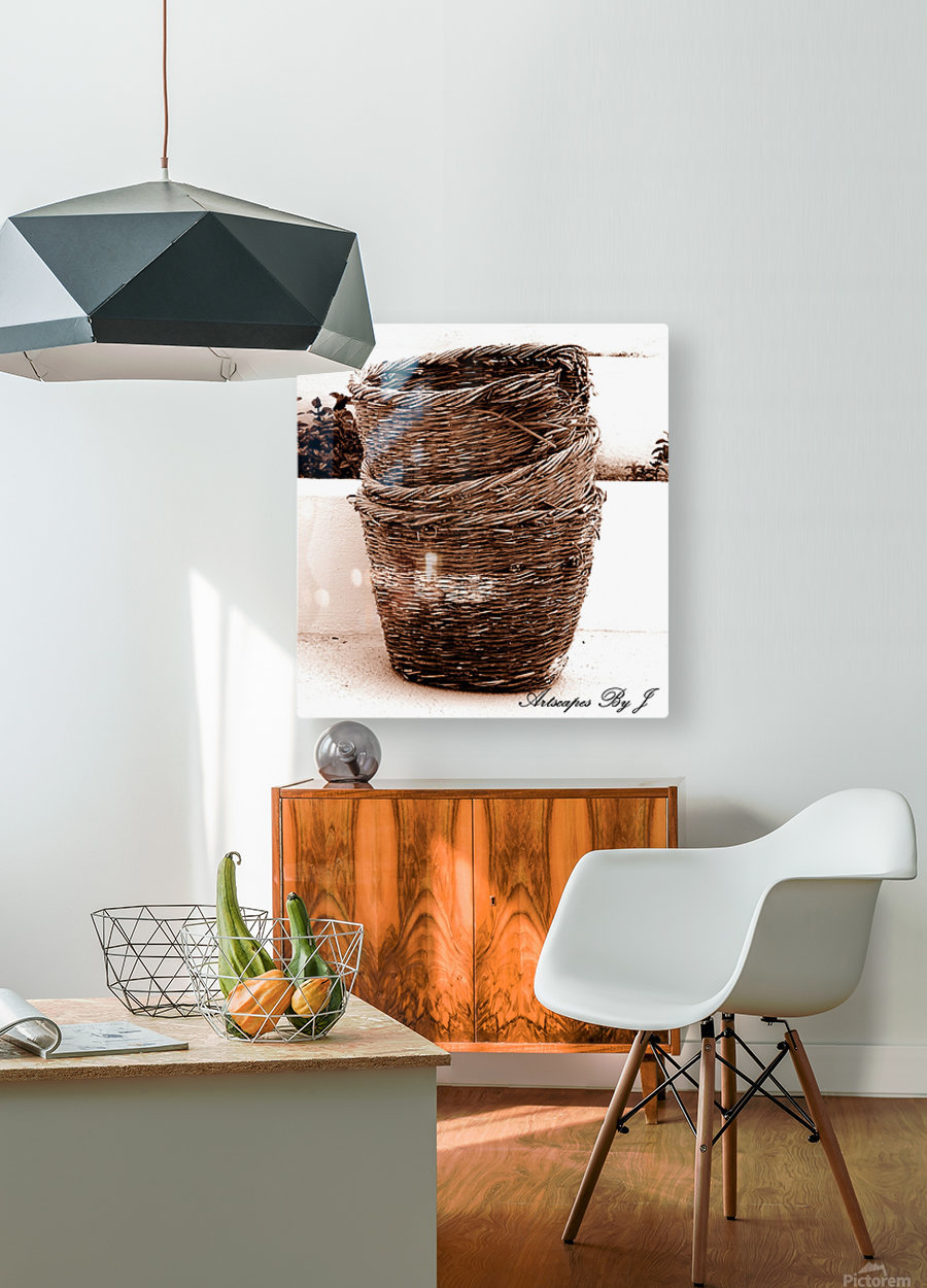 Grape Baskets  HD Metal print with Floating Frame on Back