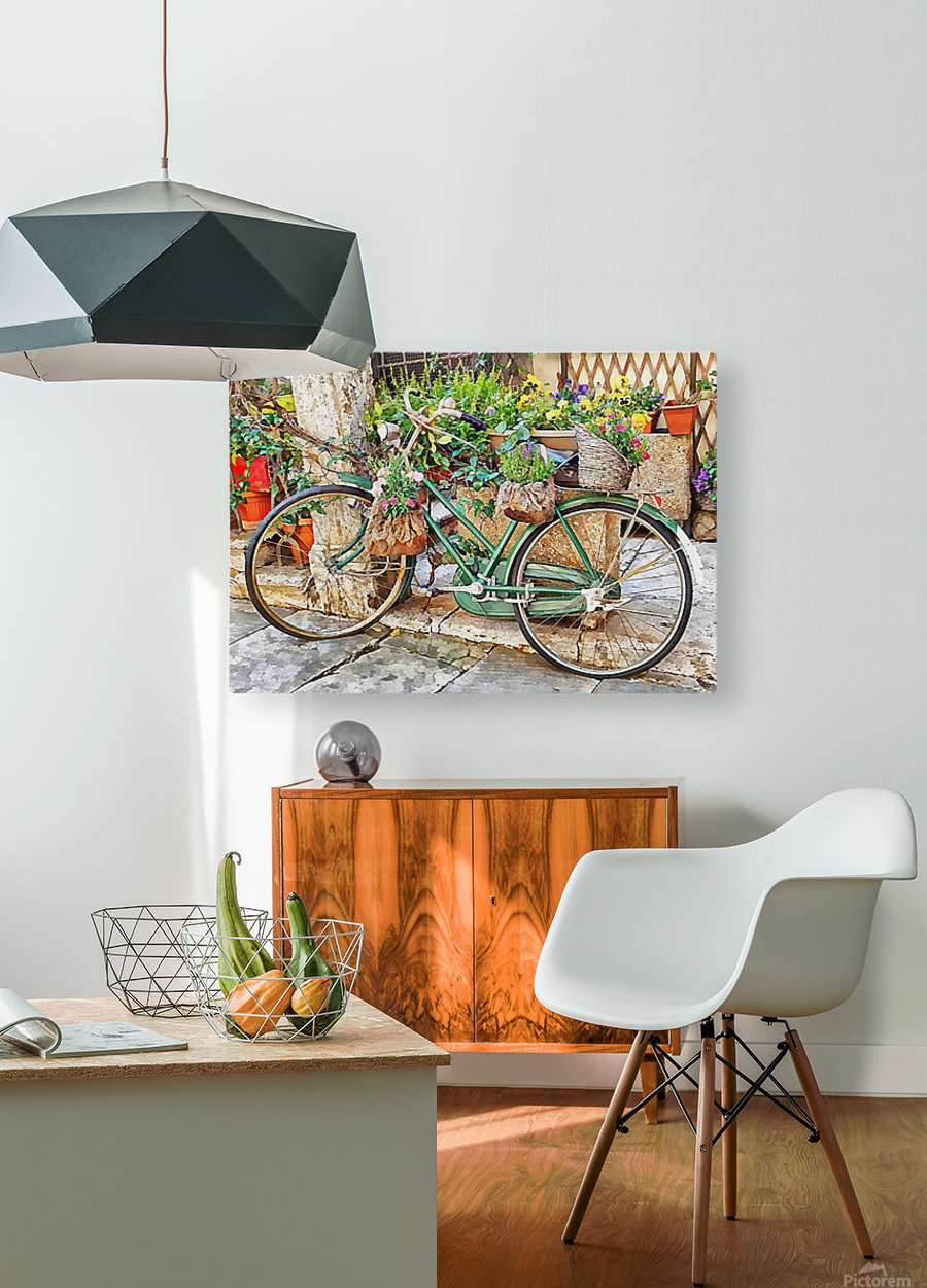 Decorative Bicycle In Cortona  HD Metal print with Floating Frame on Back