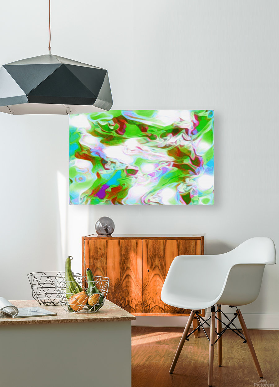 Green Glass Window - multicolor green abstract swirl wall art  HD Metal print with Floating Frame on Back