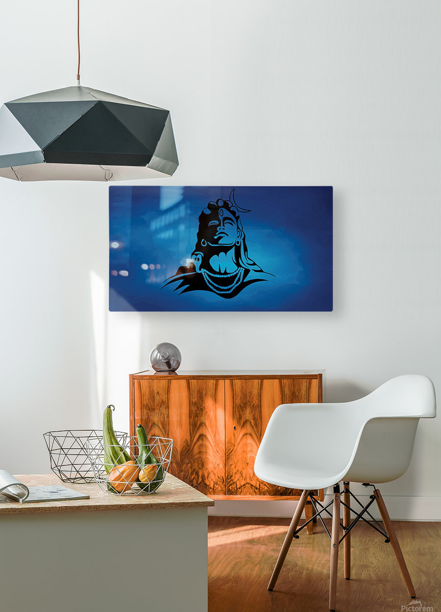 Lord Shiva  HD Metal print with Floating Frame on Back