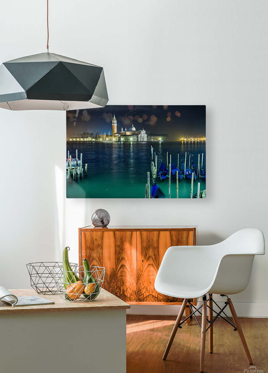 Venice by night  HD Metal print with Floating Frame on Back