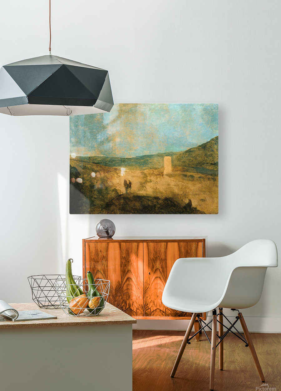 Landscape with castle  HD Metal print with Floating Frame on Back