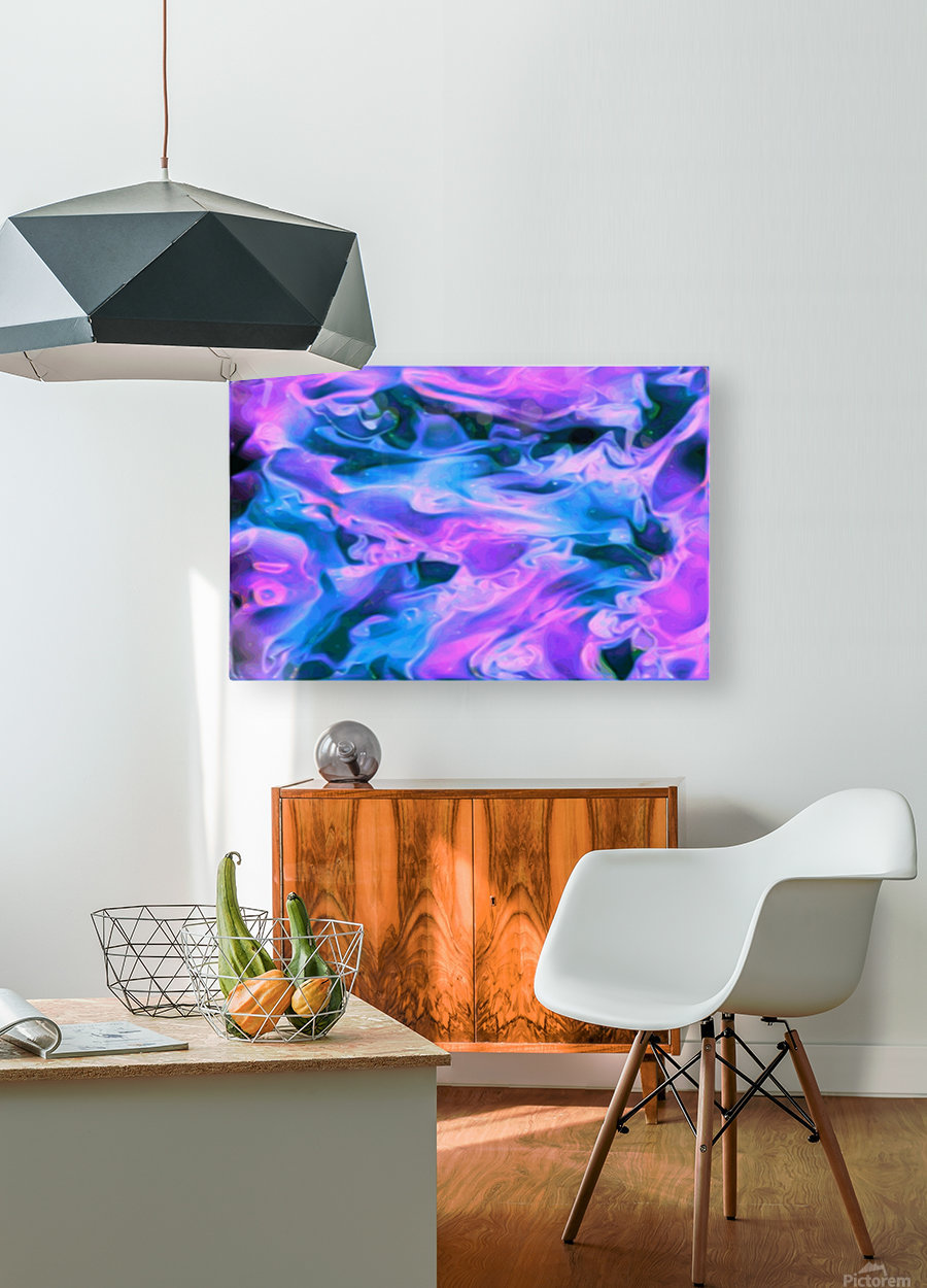 Purple Ice - purple blue abstract swirl wall art  HD Metal print with Floating Frame on Back