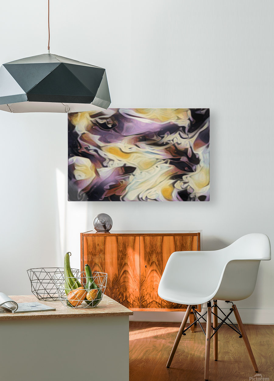 Cosmic - multicolored abstract swirl wall art  HD Metal print with Floating Frame on Back