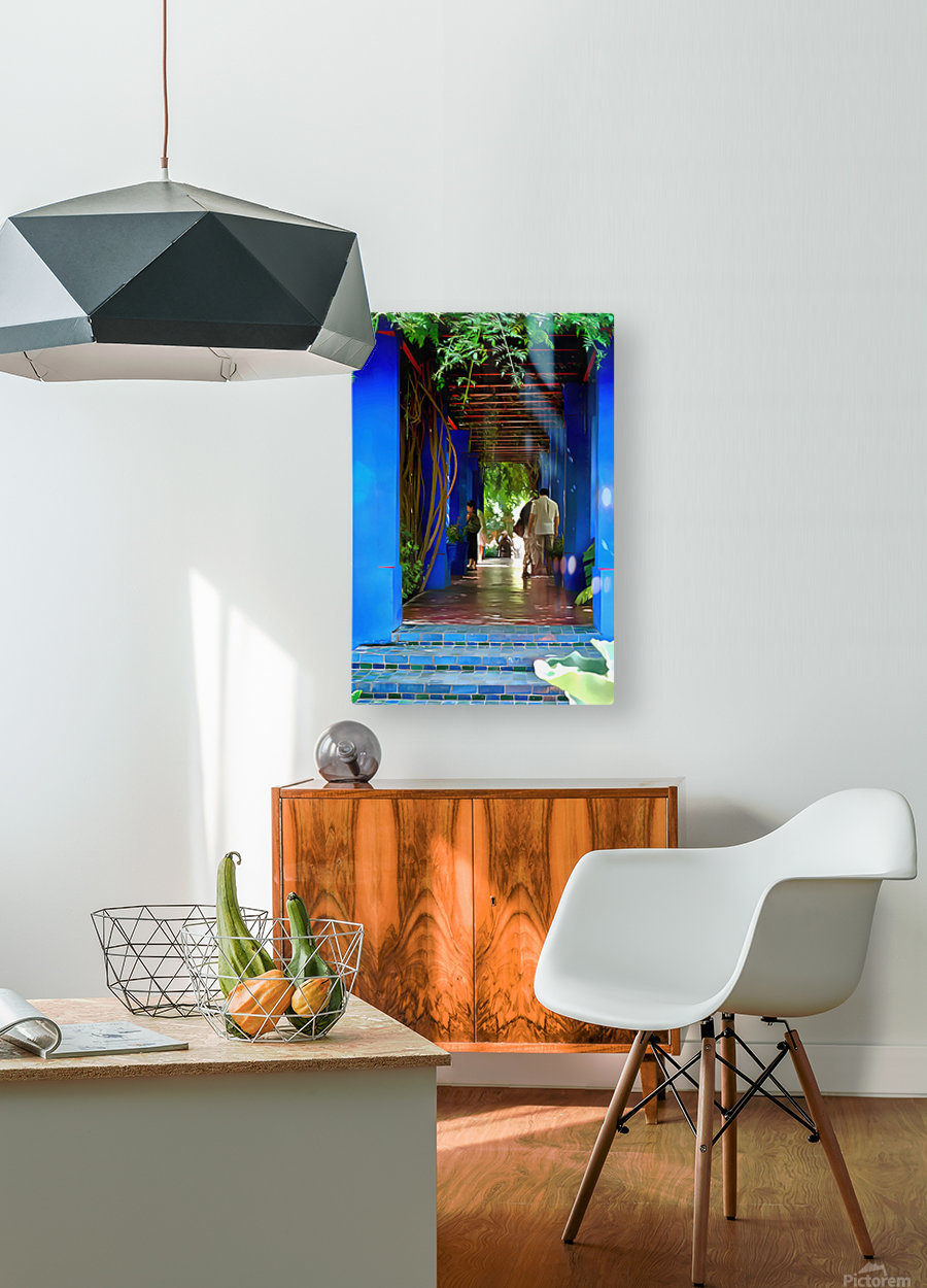 Shady Blue Walkway Marrakech  HD Metal print with Floating Frame on Back