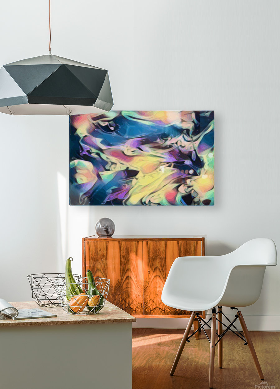 Smooth Brandy - multicolor abstract swirl wall art  HD Metal print with Floating Frame on Back