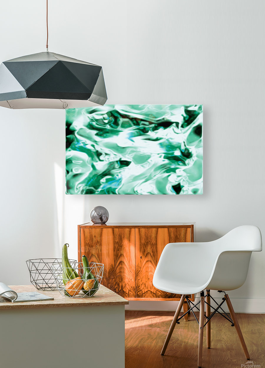 Icicles - turquoise white abstract swirls wall art  HD Metal print with Floating Frame on Back