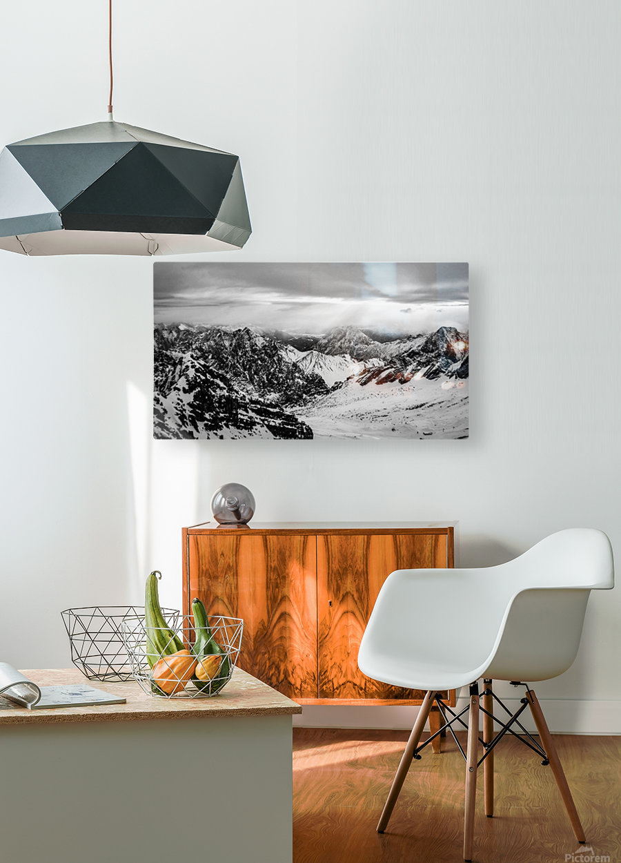 Zugspitze in black and white  HD Metal print with Floating Frame on Back