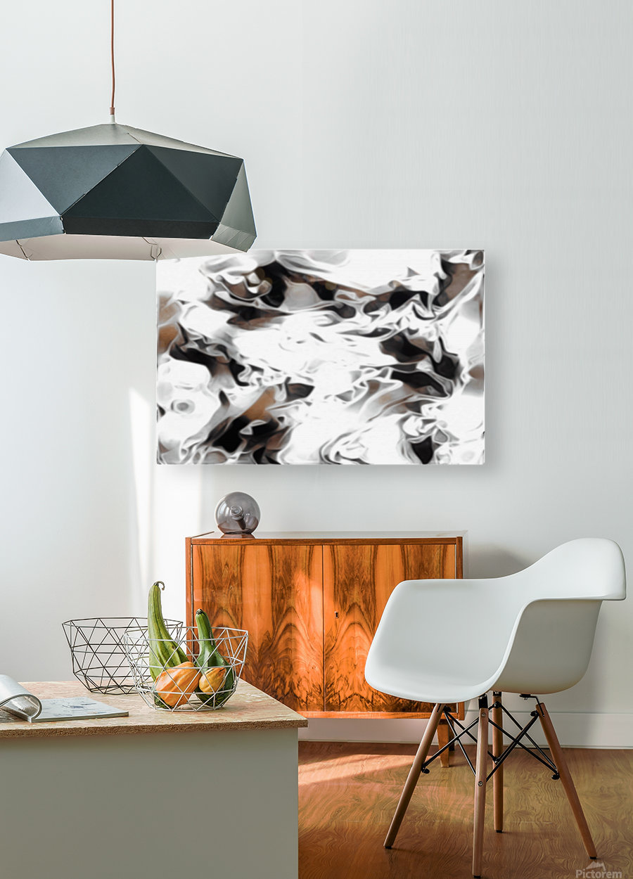 Brown Sugar & Coffee - brown grey white black swirls large abstract wall art  HD Metal print with Floating Frame on Back