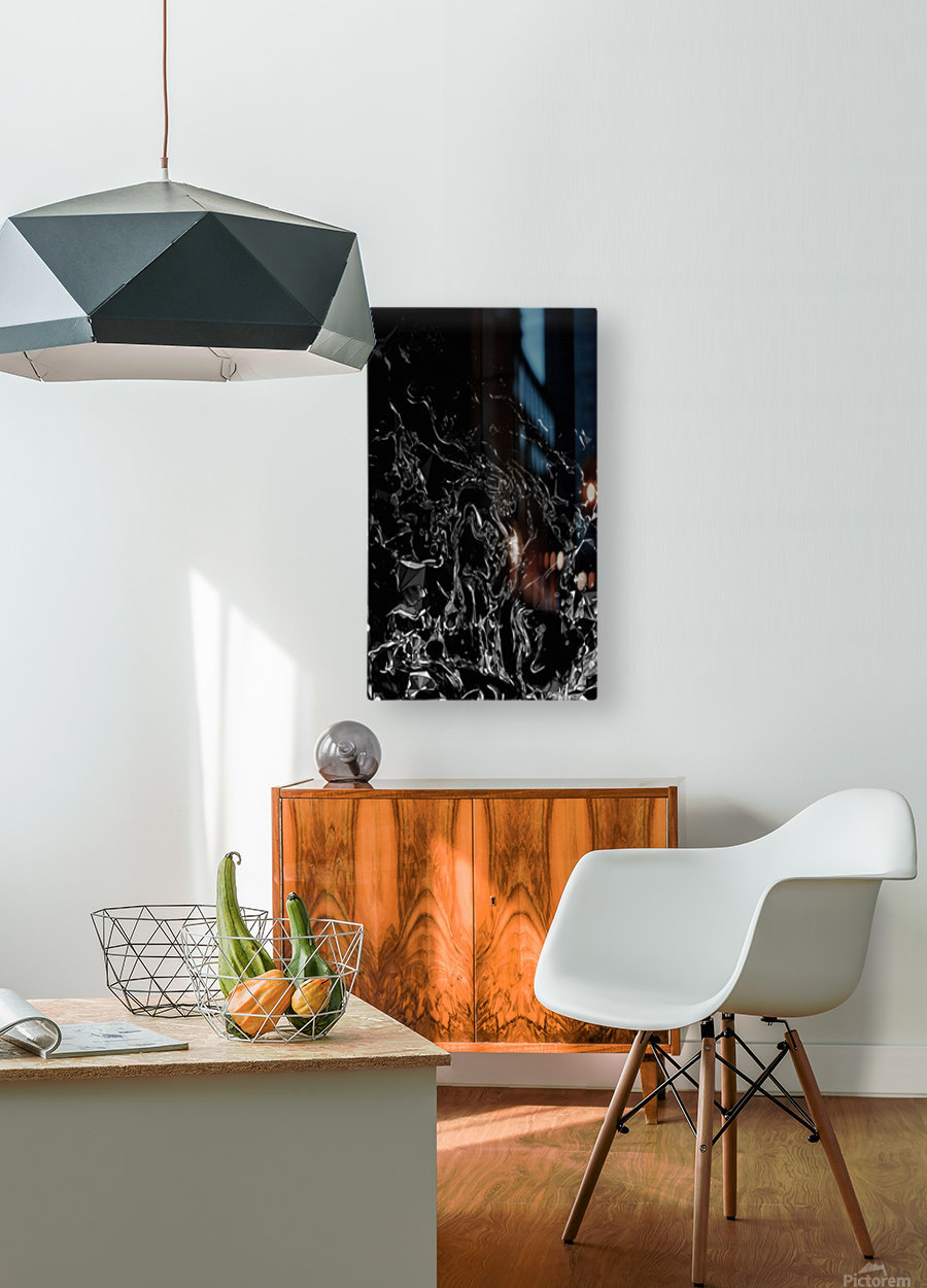Infinite - black white gradient polygons swirls large abstract wall art  HD Metal print with Floating Frame on Back