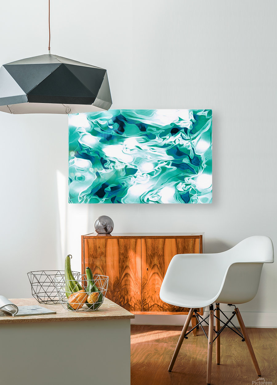 Mint Chocolate Chip Ice Cream - turquoise white blue black swirls large abstract wall art  HD Metal print with Floating Frame on Back