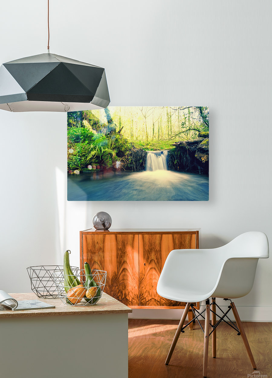 waterfall river nature forest   HD Metal print with Floating Frame on Back