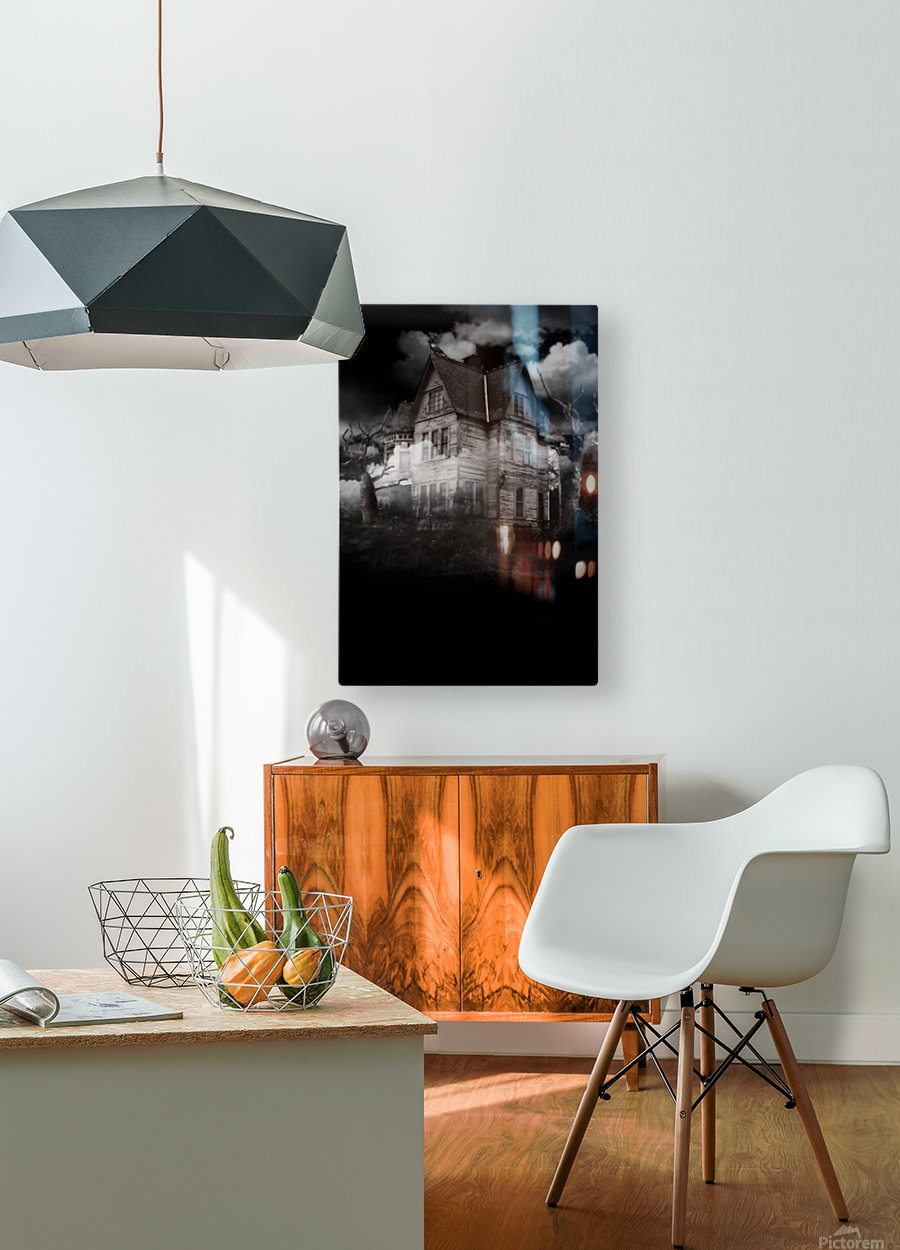 haunted night building  HD Metal print with Floating Frame on Back