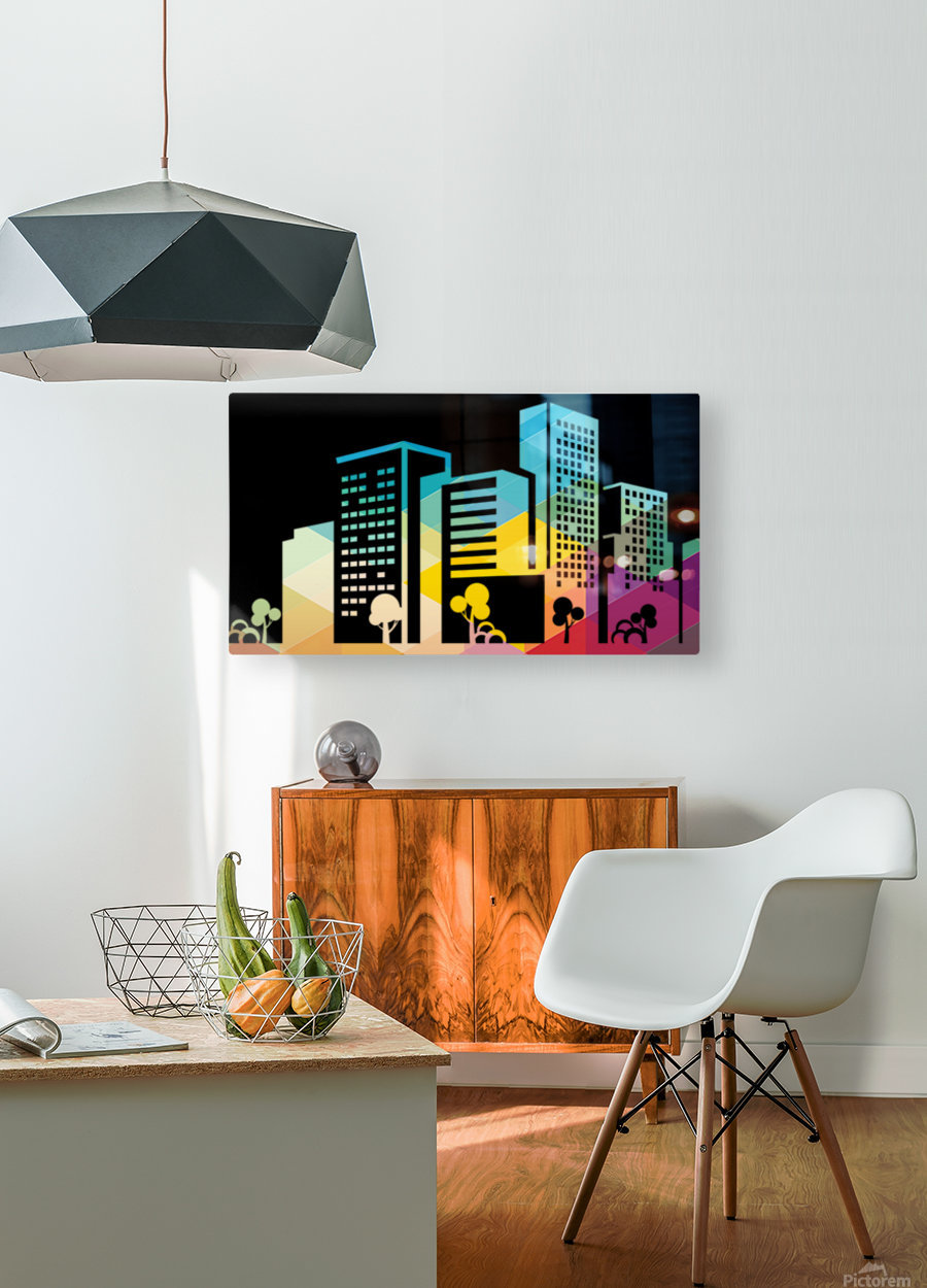 silhouette cityscape building icon color city  HD Metal print with Floating Frame on Back