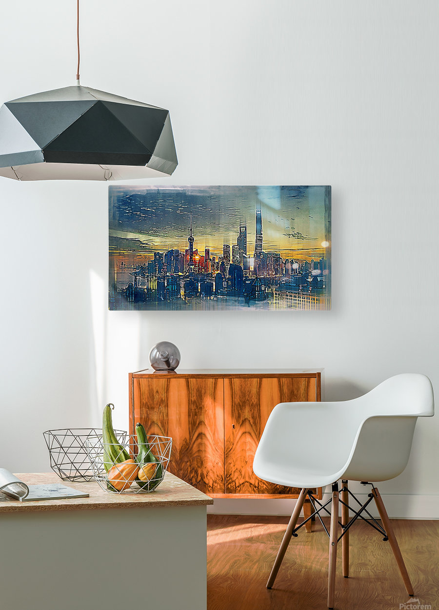city metro pole buildings  HD Metal print with Floating Frame on Back
