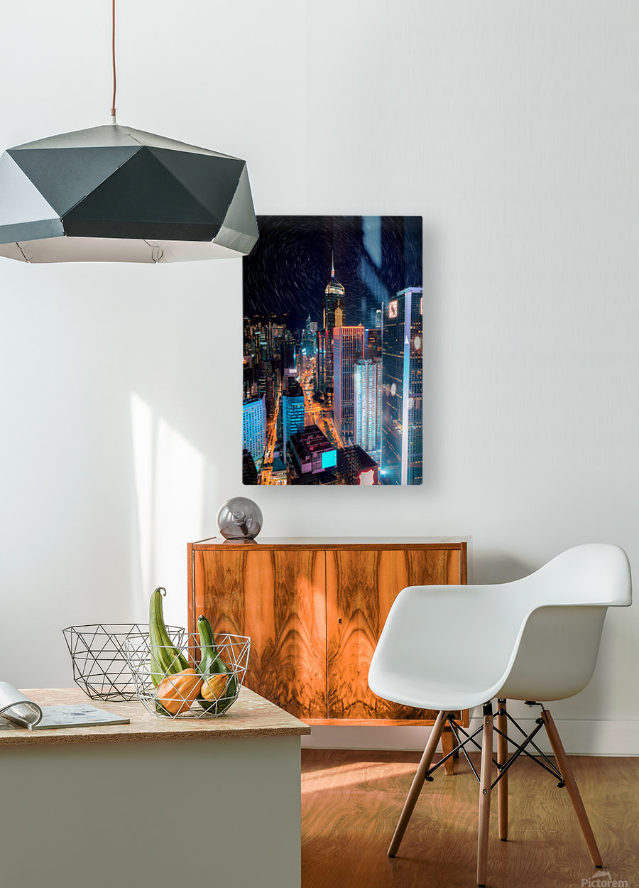 high rise buildings with lights  HD Metal print with Floating Frame on Back