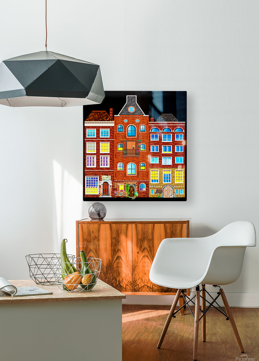 town buildings old brick building  HD Metal print with Floating Frame on Back