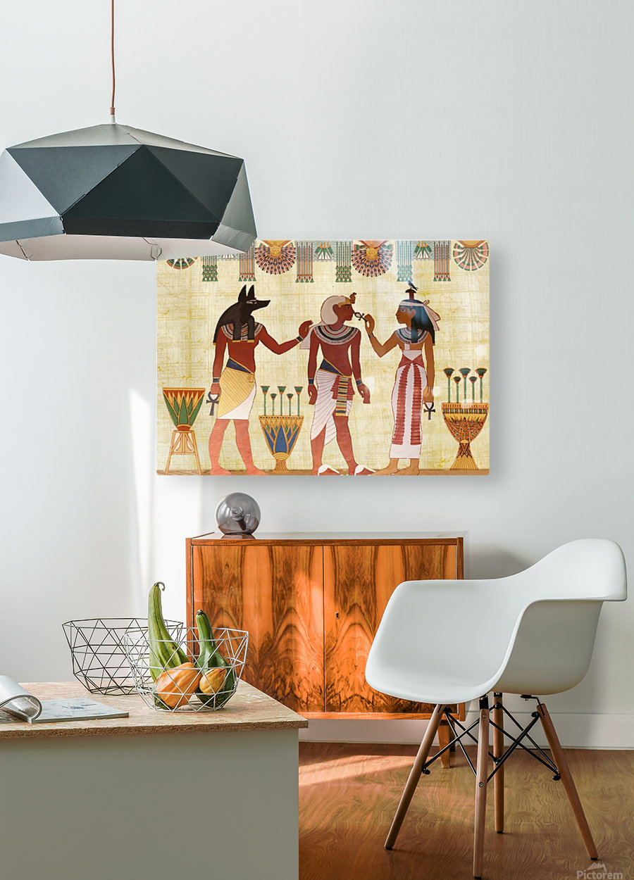 egyptian design man woman priest  HD Metal print with Floating Frame on Back