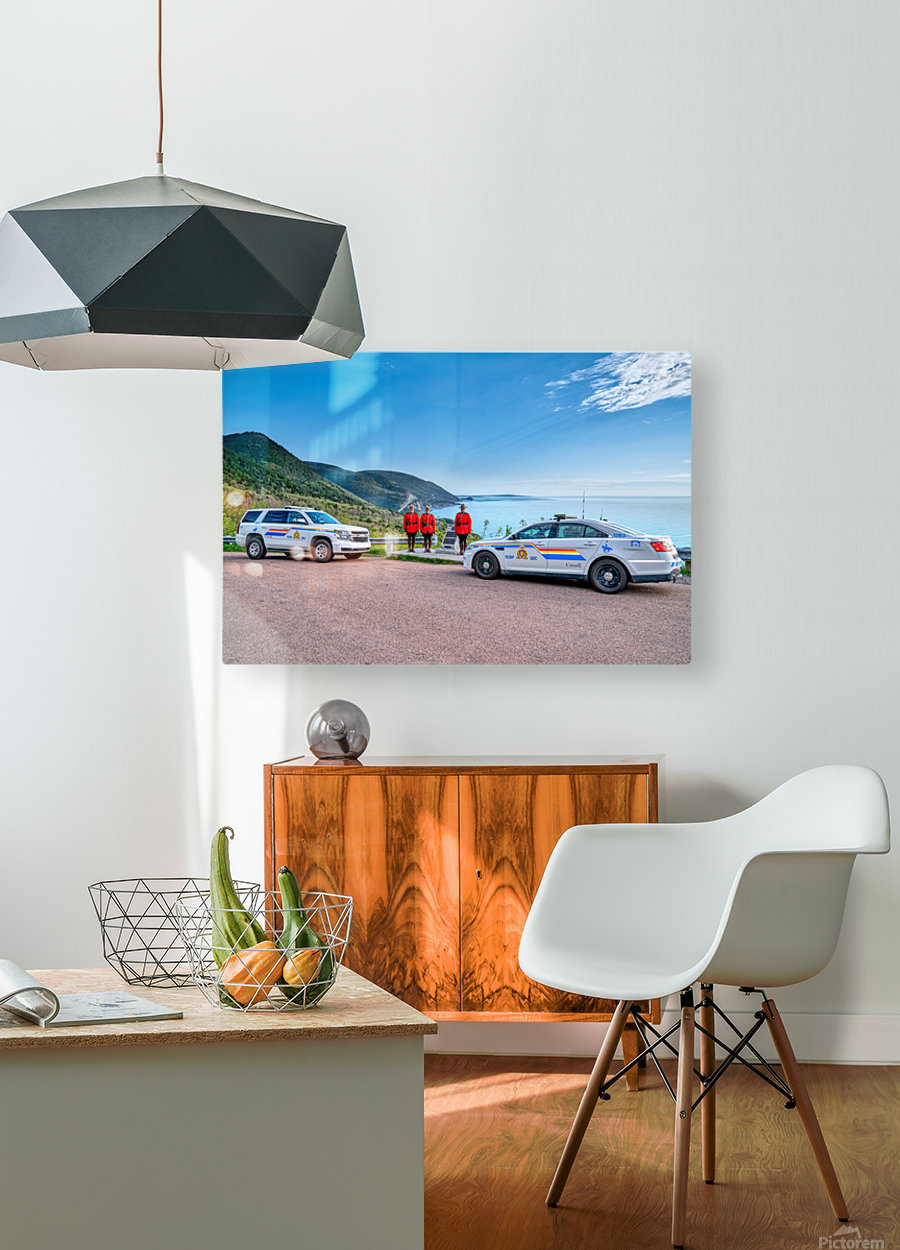 RCMP at ease with cruisers at French Mountain Monument  HD Metal print with Floating Frame on Back