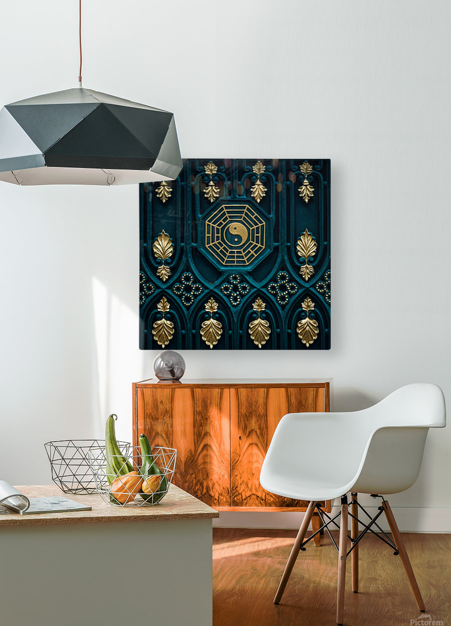 blue and brown yin yang illustration  HD Metal print with Floating Frame on Back