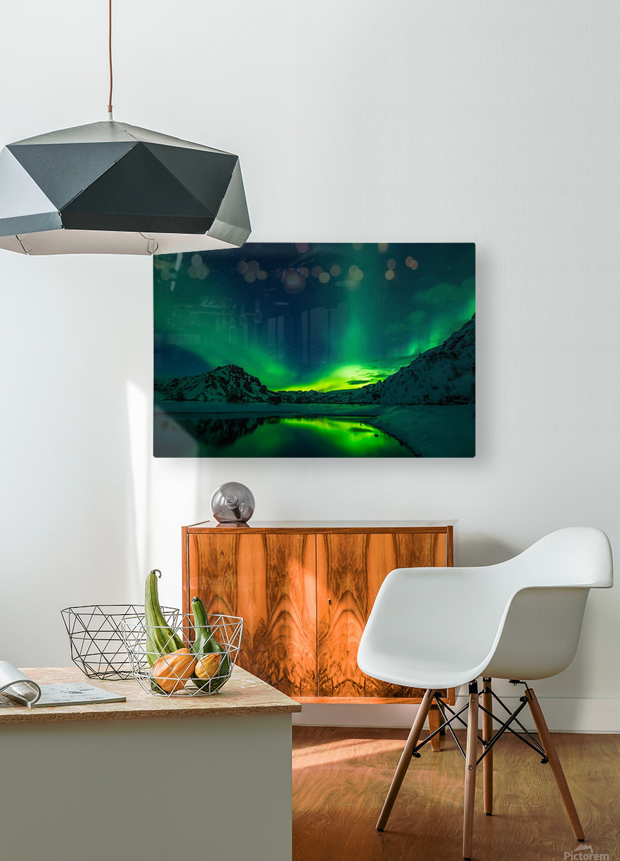 iceland aurora borealis  HD Metal print with Floating Frame on Back