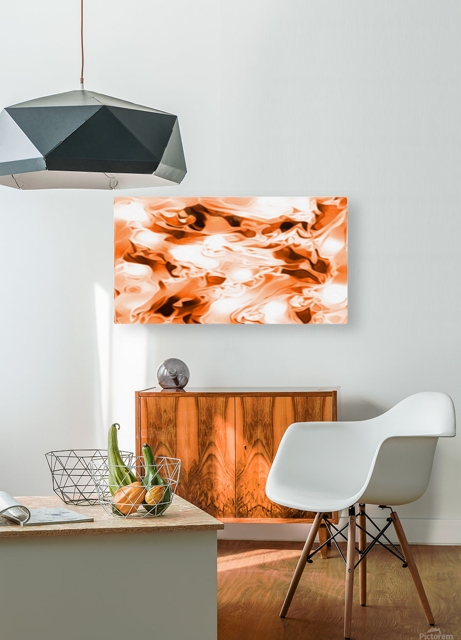 Orange Cream - orange black white swirls abstract wall art  HD Metal print with Floating Frame on Back
