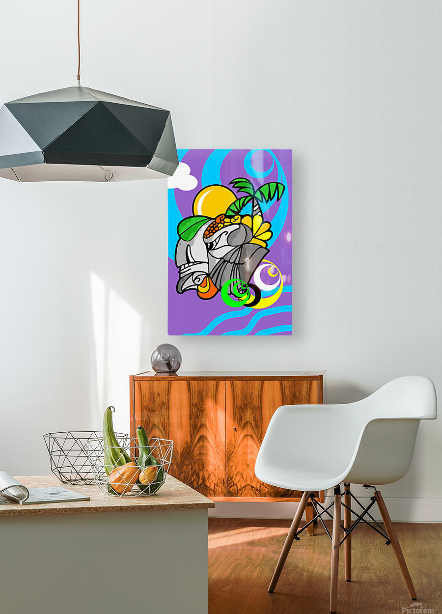RHINO  HD Metal print with Floating Frame on Back