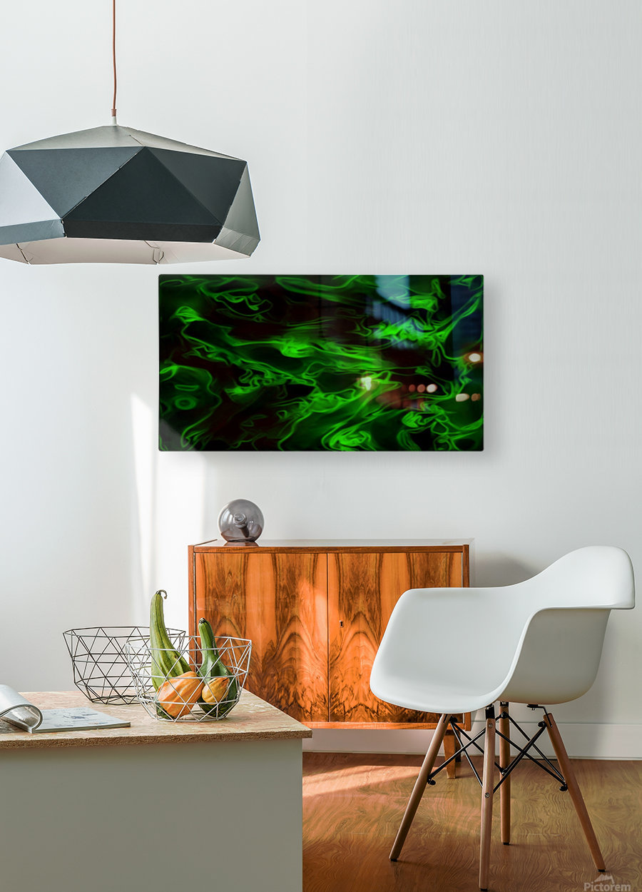 Green Plasma - green black swirls large abstract wall art  HD Metal print with Floating Frame on Back