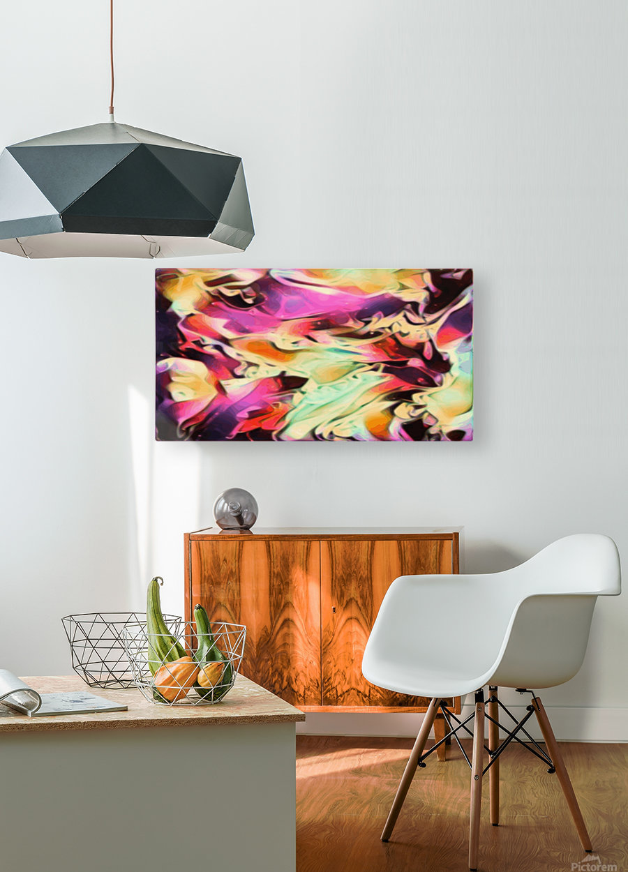 Rising Glow - multicolor swirls abstract wall art  HD Metal print with Floating Frame on Back