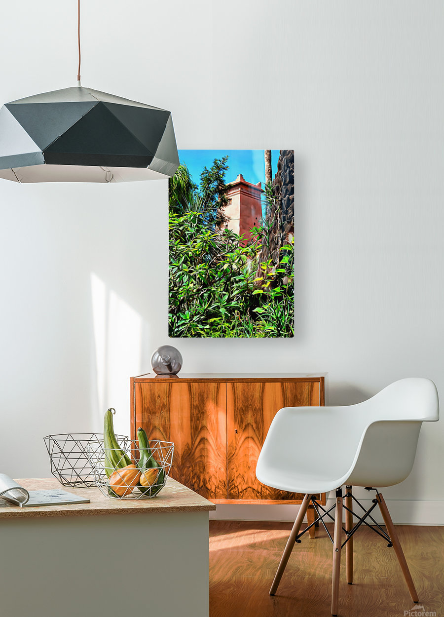 Tower At Jardin Majorelle Marrakech  HD Metal print with Floating Frame on Back